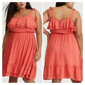 NWOT torrid Coral Ruffle Challis Dress